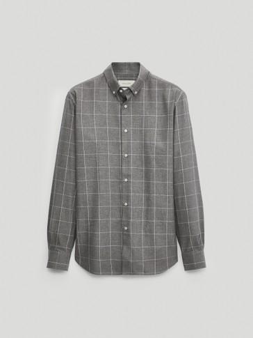 قميص بمربعات من القطن 100% قصة عادية