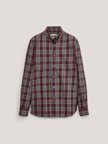 Slim fit check 100% cotton shirt
