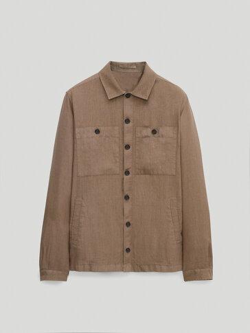 جاكيت قميصي مع جيوب من الكتان 100%