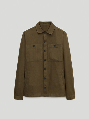 100% linen overshirt with pockets