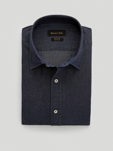 100% cotton denim slim fit shirt