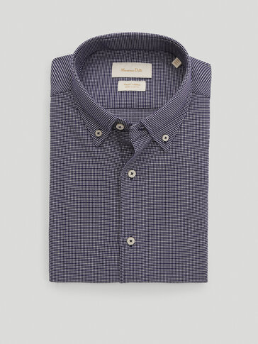 100% cotton regular-fit textured shirt