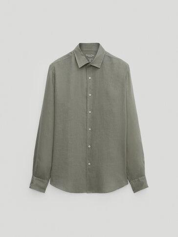Вталена риза от 100% лен с оцветена нишка