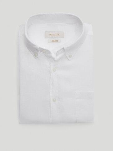 Regular fit plain 100% linen shirt