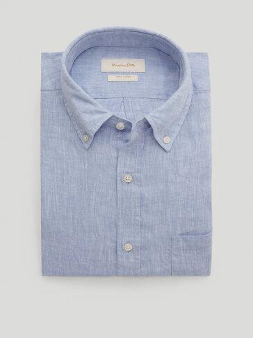 قميص سادة من الكتان 100% قصة عادية