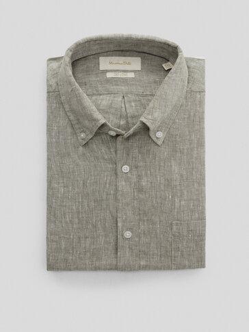 Unifarbenes Hemd aus Reinem Leinen im Regular-Fit