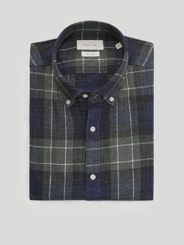 100% linen slim-fit check shirt