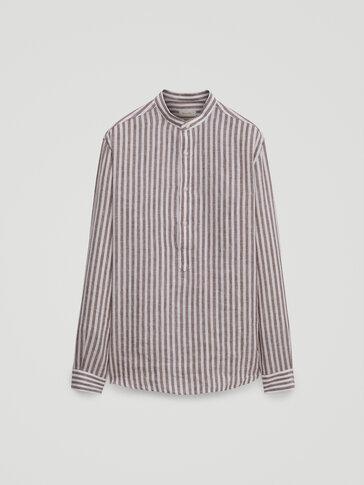 Regular fit striped 100% linen shirt