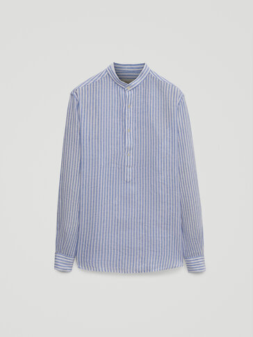 Regular fit striped 100% linen shirt