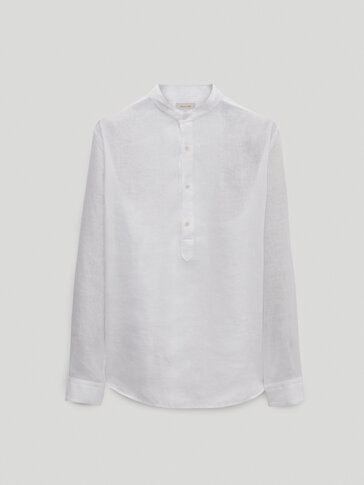 100% linen regular fit shirt with stripes
