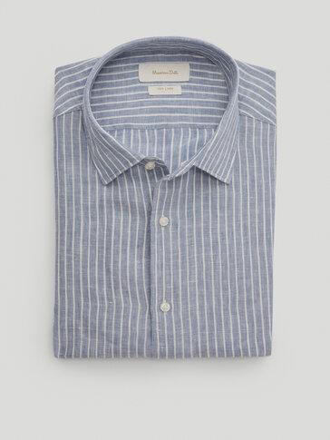 Svītrains 100% lina krekls 'slim fit'