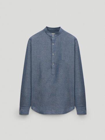 Cotton linen regular fit shirt
