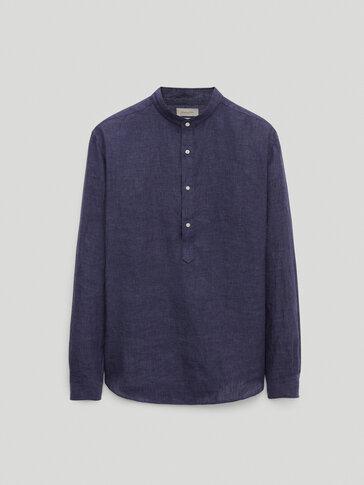 Regular fit shirt in 100% linen chambray