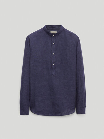 Regular fit shirt in 100% linen chambray
