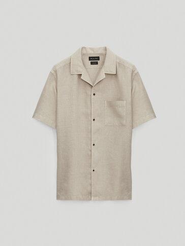 Regular fit shirt with camp collar