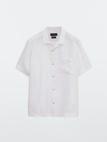 Chemise à col bowling coupe droite