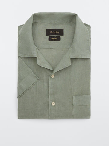 Regular fit shirt with camp collar