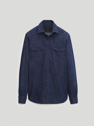 Slim-fit denimskjorte i 100 % cotton