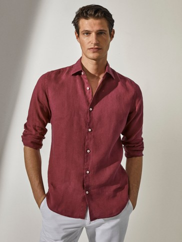 100% linen slim-fit shirt