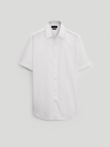 قميص من القطن بأكمام قصيرة قصة ضيقة