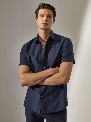 Рубашка облегающего кроя из хлопка с короткими рукавами