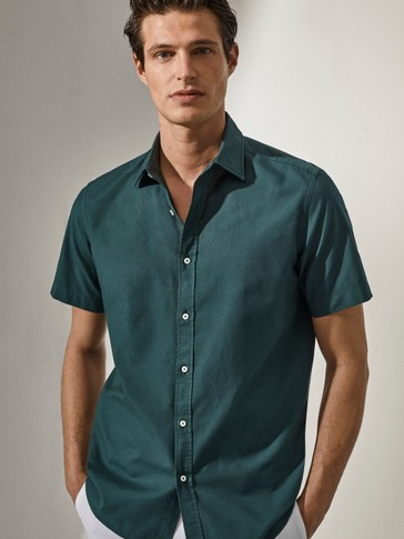 Slim-fit cotton short sleeve shirt