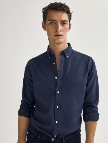 Regular-fit strukturert skjorte i 100 % cotton