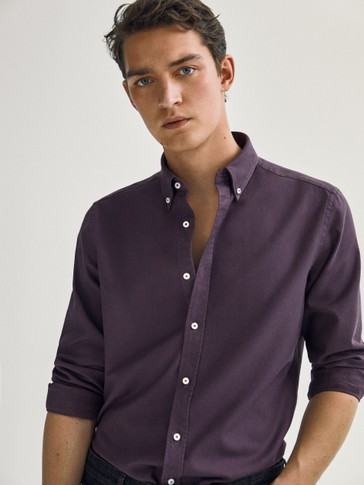 Regular-fit textured 100% cotton shirt