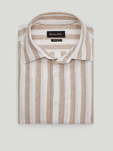 Slim fit linen and cotton striped shirt