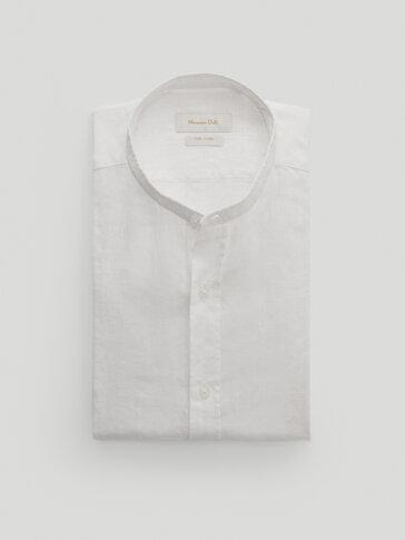 قميص بياقة ماو من الكتان 100% قصة ضيقة
