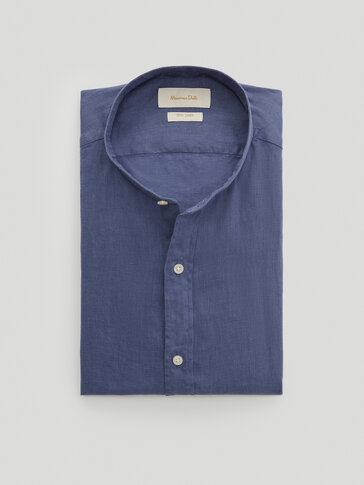 Chemise à col mao en pur lin cintrée