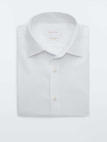 Slim fit textured cotton shirt
