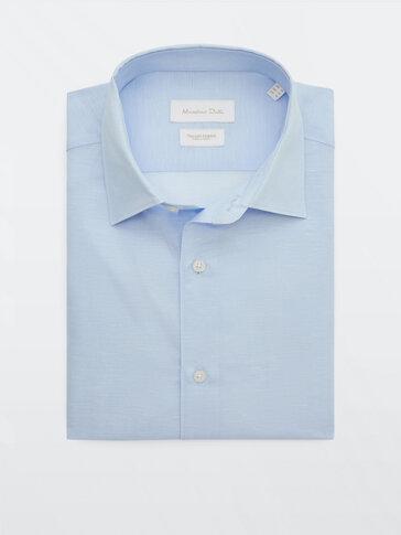 Slim fit linen and cotton shirt