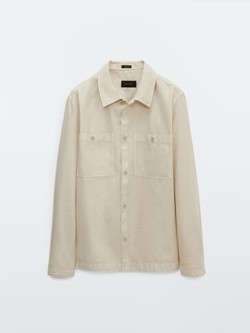 Cotton and linen overshirt with pockets