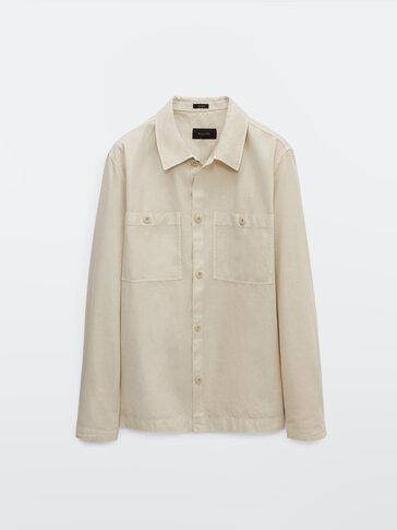 Куртка-рубашка из хлопка и льна с карманами