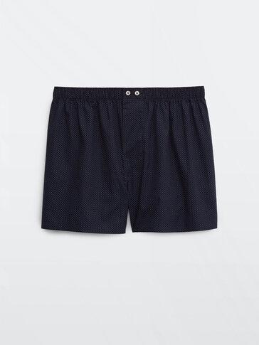 Navy blue pola dot print boxers