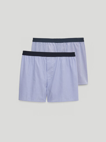 Pack of striped/check cotton boxers