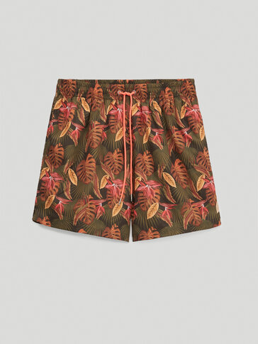Leaf print swimming trunks with pockets