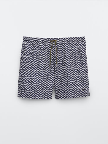 Zigzag print swimming trunks