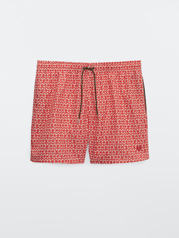 Triangle print swimming trunks