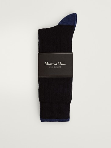Contrast ribbed socks