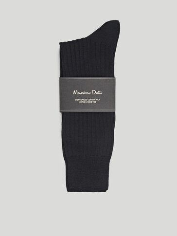 100% cotton ribbed socks