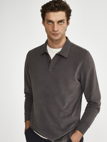 100% cotton long sleeve Polo shirt