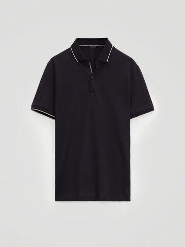 قميص بولو من القطن 100% بطوق متباين