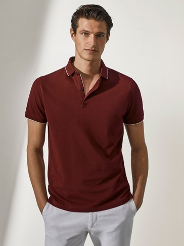100% cotton polo shirt with contrast collar