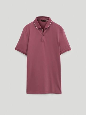 חולצת פולו עם צווארון משולב 100% כותנה