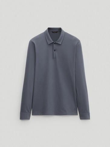 Polo en pur coton à manches longues