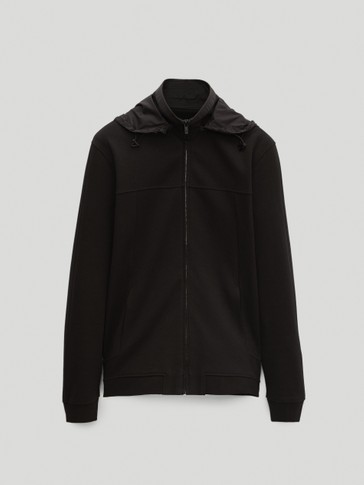 Contrast jacket with removable hood