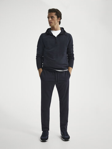 Navy blue jogging fit trousers