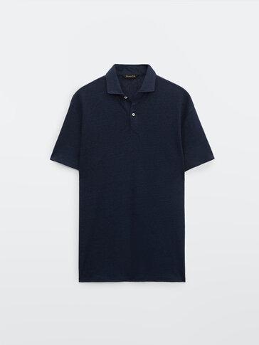 قميص بولو من الكتان 100% بأكمام قصيرة